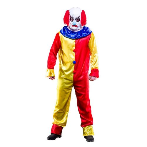 Mens Creepy Clown Costume for Spooky Frightening Scary Halloween Fancy Dress